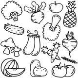 Gekritzel mit Gemüse des Handabgehobenen betrages lizenzfreie abbildung