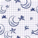 Gekritzel-Mond und Stern-Hintergrund vektor abbildung