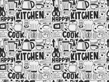 Gekritzel-nahtloses Kochen und Küchenhintergrund Stockbild