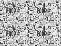Gekritzel-nahtloses Kochen und Küchenhintergrund Lizenzfreie Stockfotos