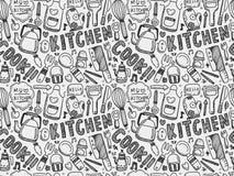 Gekritzel-nahtloses Kochen und Küchenhintergrund Lizenzfreies Stockbild
