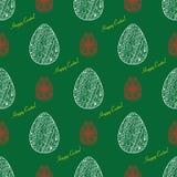 Gekritzel Ostern-Muster auf dem grünen Hintergrund Vektor nahtloses d Stockbild