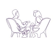 Gekritzel-Paar-Sit In Armchairs Speaking Hand gezeichneter Mann-und Frauen-Schattenbild-Datierungs-Kommunikations-Weiß-Hintergrun vektor abbildung