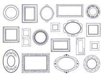 Gekritzel-Rahmen Quadratische Grenzen des Handabgehobenen betrages, Bleistiftkreislinie, runde gebogene Rahmen, Kinderfederzeichn vektor abbildung