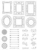 Gekritzel-Rahmen und Elemente lizenzfreies stockbild