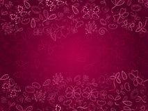 Gekritzel-rosafarbene Karte mit Blume und Basisrecheneinheiten Lizenzfreie Stockbilder