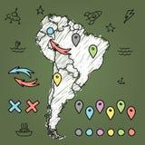 Gekritzel-Südamerika-Karte auf grüner Tafel mit Lizenzfreie Stockfotografie