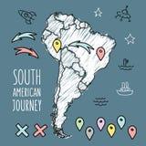 Gekritzel-Südamerika-Karte auf Marineblautafel Stockbild