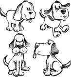 Gekritzel-Skizze-Hundeset Lizenzfreies Stockfoto