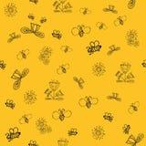 Gekritzel-Sommerblumen des Vektors nette mit Biene Lizenzfreies Stockbild