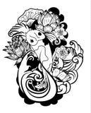 Gekritzel und Linie Kunst Koi Carp Japanese-Tätowierungsart Stockbild