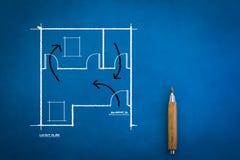 Gekritzel von Architekturplan- und -hausplänen jpg lizenzfreie stockfotografie