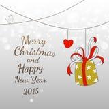 Gekritzel-Weihnachtseinfaches Spaß-Kartendesign Stockbild