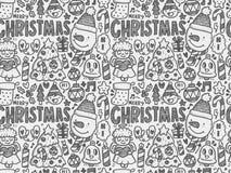 Gekritzel-Weihnachtshintergrundmuster Lizenzfreie Stockfotografie