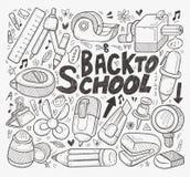 Gekritzel zurück zu Schulelement Stockfoto