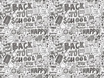 Gekritzel zurück zu Schulnahtlosem Muster Lizenzfreies Stockfoto