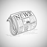 Gekritzelart-Zeitungsillustration im Vektor Stockfotografie