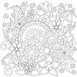 Gekritzelblumen und -Mandalen Stockfotografie