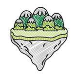 Gekritzeleisberge und -büsche in der Flossinsel lizenzfreie abbildung