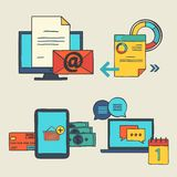Gekritzelelemente des Handabgehobenen betrages entwerfen Ikonen für Netz Vektorsatz Geschäftskonzepte - on-line-Einkaufen, Bildun Lizenzfreie Stockbilder