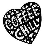 Gekritzelherz und ein Aufschriftkaffee und -schauer lizenzfreie abbildung