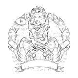 Gekritzelikone mit Löwe und Revolvern Lizenzfreies Stockbild