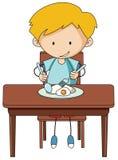 Gekritzeljunge, der Frühstück isst vektor abbildung