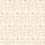 Gekritzelküchen-nahtloser Pastellfarbhintergrund Stockfotos