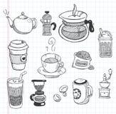 Gekritzelkaffeeikonen Lizenzfreie Stockfotos