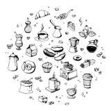 Gekritzelkaffeestubeikonen Vector Entwurfskaffee- und -teezeichnungen für Cafémenü Stockfotos