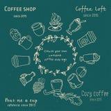 Gekritzelkaffeestubelogo Stockbilder