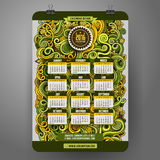 Gekritzelkarikatur kräuselt dekorativen Blumenkalender Lizenzfreie Stockfotos