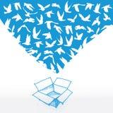 Gekritzelkasten, Skizzen-Fliegentaube für Friedenskonzept und Hochzeit entwerfen Weiß auf einem blauen Hintergrund Vektor Stockfotografie