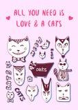 Gekritzelkatzen, Liebespostkarte Valentine Greeting-Karte Vektorfarbtonseite Lizenzfreies Stockbild