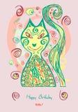 Gekritzelkatzenkarte Lizenzfreie Stockbilder