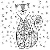 Gekritzelkatzenmuster und -herzen stock abbildung