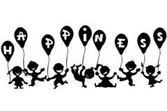 Gekritzelkinder mit Ballonen Stockfotografie