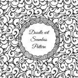 Gekritzelkunst Abstraktes nahtloses Muster mit Rotationszufuhrband Auch im corel abgehobenen Betrag Malbücher Schwarzes Weiß Stockbild