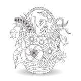 Gekritzelkunst blüht Blumenmuster Stockbilder