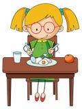 Gekritzelmädchen charcter, das Frühstück isst stock abbildung