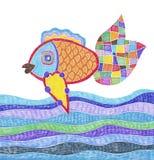 Gekritzelmarkierungszeichnung von Fischen und von Wasser Stockfotografie