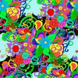 Gekritzelmuster mit Blumen und Strudeln Lizenzfreie Stockfotografie
