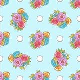 Gekritzelmusterphantasieblumen und -kreise auf Blau stock abbildung
