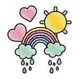 Gekritzelregenbogenwolken, die mit Herzen und Sonne regnen vektor abbildung