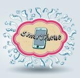 Gekritzelsatz des intelligenten Telefons Stockfoto