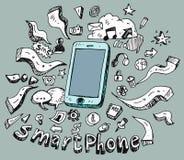 Gekritzelsatz des intelligenten Telefons Lizenzfreies Stockbild