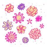 Gekritzelskizzenblumen lokalisiert Stockfotos