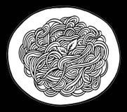 Gekritzelspaghetti-Handzeichnung Stockbild