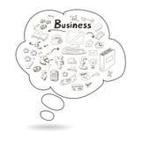 Gekritzelsprache-Blasenikone mit Geschäft Stockbild