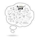 Gekritzelsprache-Blasenikone mit Geschäftsidee Stockbild